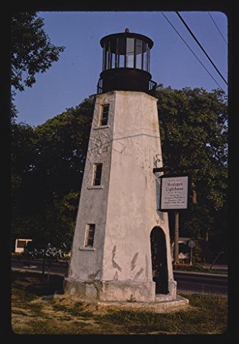 16 x 24 Gallery Wrapped Framed Art Canvas Print of Henlopen Lighthouse Replica, Rehoboth Beach, Delaware 1985 Roadside Americana Ready to Hang 95a