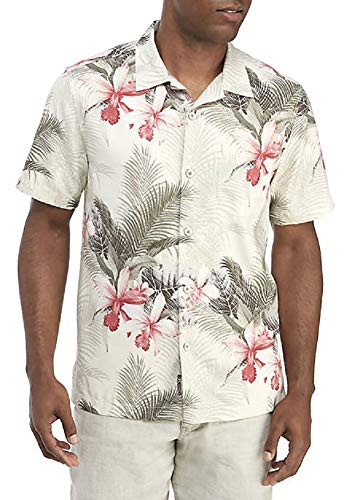 (Tommy Bahama Island Zone Shadows in Paradise Silk Blend Camp Shirt (Color: Coconut Cream, Size XXL))