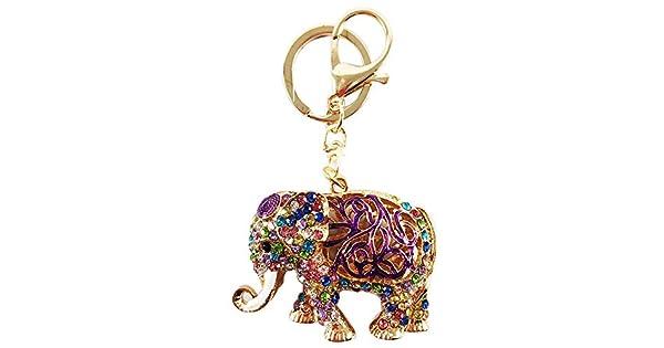 Amazon.com: BellaMustard - Llavero de elefante de la suerte ...