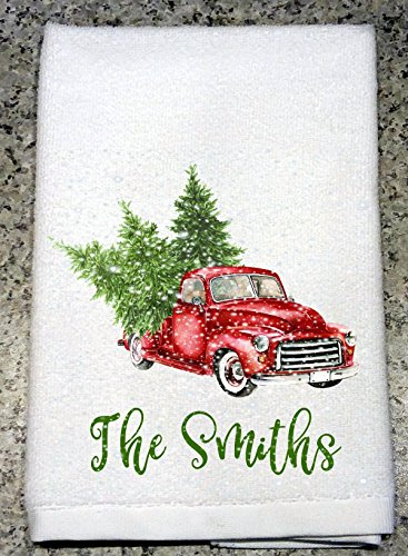 Vintage Red Christmas Pickup Truck with Trees in Falling Snow and Message or Name Kitchen - Pickup Specifications Ford