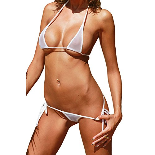 79c719da341c3 Luckilia Women s Sheer Extreme Bikini Halterneck Top and Tie Sides Micro  Thong Sets (White)