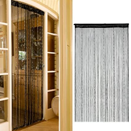 Vktech Romantic Solid Color Fringe Door Curtain Drape String With Bead Chain 1x2m Black