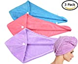 HOPESHINE Hair Drying Towel Twist Women's Soft Shower Microfiber Towels for Hair Turban Wrap Fast Drying Ultra Absorbent Cap Great Gift for Women (Blue+Purple+Rose Red 3-Pack)