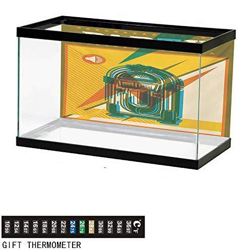 - wwwhsl Aquarium Background,Jukebox,Digital Retro Print Party Themed Old Antique Music Radio,Olive Green Earth Yellow Azure Blue Fish Tank Backdrop 36
