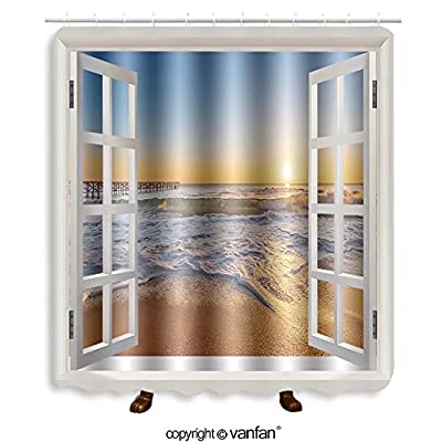 Vanfan designed Windows 348323228 Sunrise and atlantic ocean in Dominican republic Shower Curtains?Waterproof Mildew-Resistant Fabric Shower Curtain For Bathroom Decoration Decor With Shower Hooks