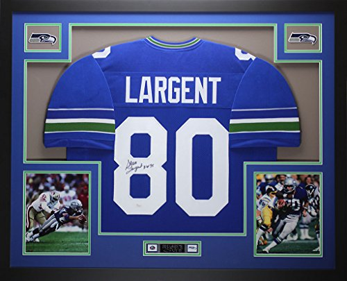 Largent Steve Signed Hand (Steve Largent Autographed Blue Seahawks Jersey - Beautifully Matted and Framed - Hand Signed By Steve Largent and Certified Authentic by JSA - Includes Certificate of Authenticity)