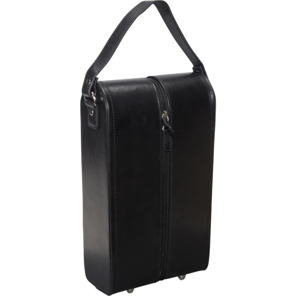 AmeriLeather Leather Double Wine Case Holder (Black)