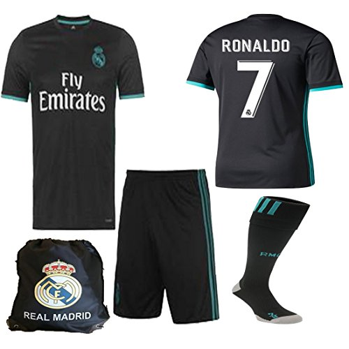 Real Benzema Madrid (Real Madrid NB Ronaldo Bale Benzema Ramos 2017 2018 17 18 Kid Youth REPLICA Away Jersey Kit : Shirt, Short, Socks, Bag (C. Ronaldo Away, Size 24 (7-8 Yrs Old Approx.)))