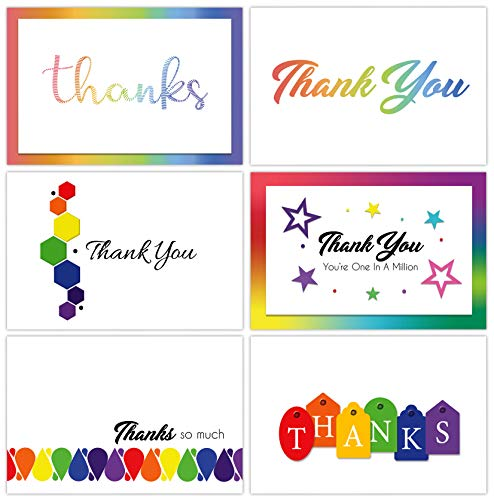 Momenttz Thank You Note Cards - 42 Pack Set With Envelopes, 6 Rainbow Designs, Blank Inside - 4 x 6 inches - For Baby & Bridal Shower, Birthday, Graduation, Engagement, Wedding, Anniversary, Corporate
