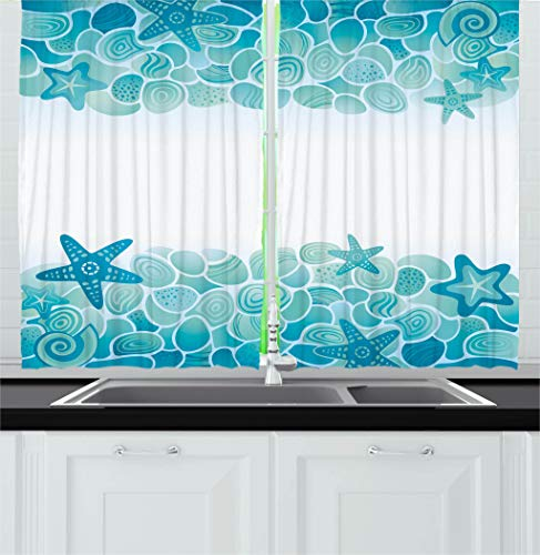 (Ambesonne Ocean Decor Kitchen Curtains, Modern Sealife Marine Sea Shells Stars Fish Under Sea Image, Window Drapes 2 Panels Set for Kitchen Cafe, 55W X 39L Inches, Tuquoise Seafoam Teal White)