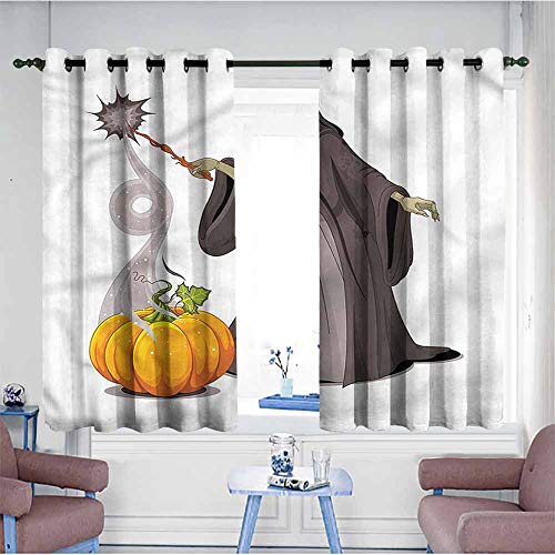 Kids Curtains,Witch Spooky Woman Casts a Spell,for Bedroom Grommet Drapes,W63x63L (Spell Grommet)