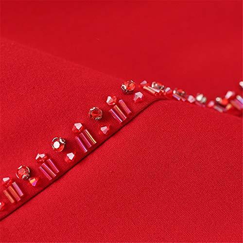 Mariage A Femmes couleur Élégante Vintage Taille Wenzhihua De Dames Robe Rouge 3xl Soirée ligne Longues À Fête Garniture Solide Cocktail Manches Noir Perles Cou qUZP4wt