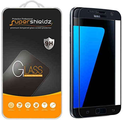 [2-Pack] Supershieldz for Samsung Galaxy S7 Tempered Glass Screen Protector, [Full Screen Coverage] Anti-Scratch, Bubble Free, Lifetime Replacement (Black) (Best Tempered Glass Screen Protector S7 Edge)