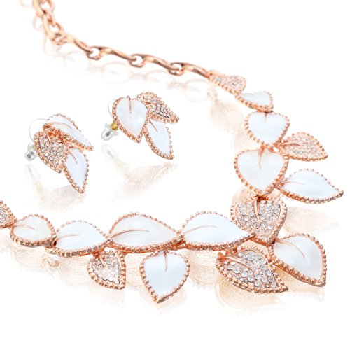 Janeojewels Premium Swarovski Crystal Element Vintage Elizabethan Mother of Pearl Shell Necklace, Earring, Bracelet 3 Piece Jewelry Set. 14K Rose Gold, Silver Under $50, Christmas, Bridal Gift Wrapped