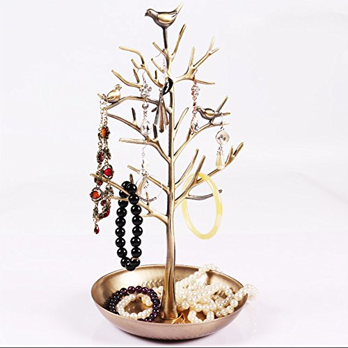 Antique Silver Birds Tree Jewelry Display Stand