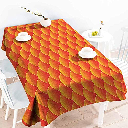 Water Resistant Table Cloth,Orange Goldfish Scales Forming Scallop Shell Random Pattern Fortune Fun Abstract Design,Table Cover for Kitchen Dinning Tabletop Decoratio,W50x80L, Burnt Orange ()
