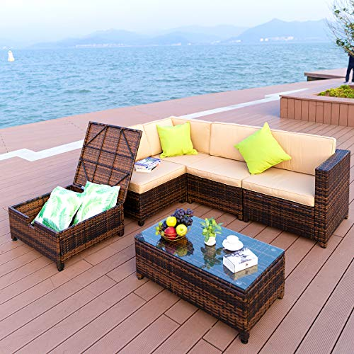 PAMAPIC 6 Piece Outdoor Patio Furniture Wicker Sofa Sets 【Adjustable Reclining and Storage Function】 Outdoor/Indoor Use Garden, Porch, Backyard, Poolside Rattan Sets
