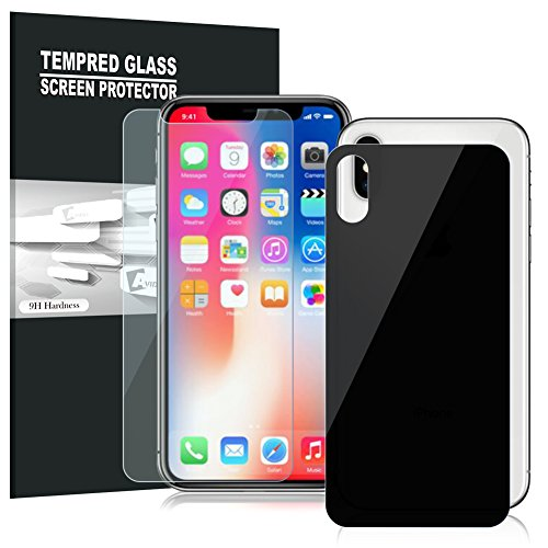 iPhone X Screen Protector, AVIDET Premium 3D Full Coverage Glass Back + Front Tempered Glass Screen Protectors for iPhone X (1 Front and 1 Back)