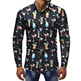 Shirts For Men,Clearance Sale !! Farjing Mens Fashion Printed Casual Long Sleeve Slim Shirts Tops(XL,Black )
