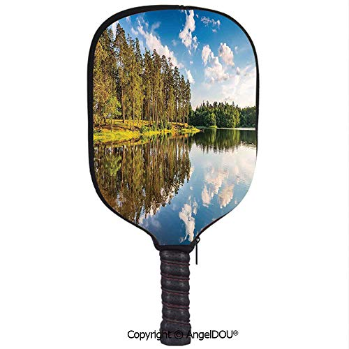 AngelDOU Lakehouse Decor Premium Neoprene Pickleball Paddle/Racket Cover Alive Forest with Clean Sky with Less Clouds Reflected to The Lake in a Summer Day Decorative Holder Sleeve Bag Accessories.