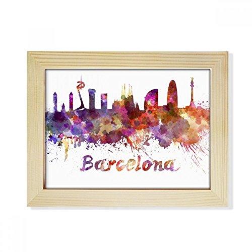 DIYthinker Barcelona Spain City Watercolor Desktop Wooden Photo Frame Picture Art Painting 6x8 inch by DIYthinker