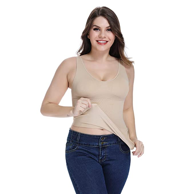 63494eb33a Compression Tank Top Women with Tummy Control Cami Shaper Slimming Camisole  Shapewear Tops (Beige