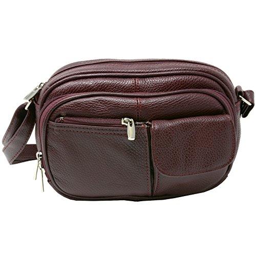 Womens Leather Adjustable Strap Multi Pocket Organizer Cross Body Purse (Leather Multi Strap)