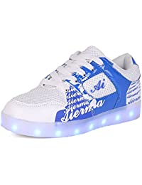 Led Light Up Shoes Flashing Rechargeable Mesh Kids Sneakers for Girls Boys (4, Blue