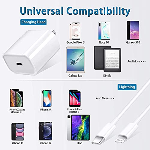 iPhone Fast Charger, USB C Fast Charger 20W PD Fast Adapter Type C Power Wall Charger with Cable Compatible iPhone 13/13 Pro Max/12/12 Mini/12 Pro/12 Pro Max/11/11 Pro Max/Xs Max/XR/X,iPad,3 feet