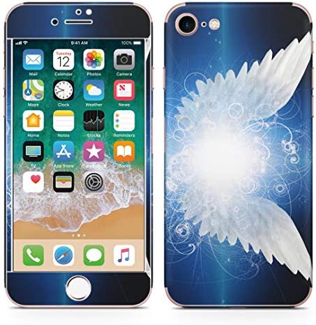 igsticker iPhone SE 2020 iPhone8 iPhone7 専用 スキンシール 全面スキンシール フル 背面 側面 正面 液晶 ステッカー 保護シール 007870 クール 羽根 はね 青 ブルー