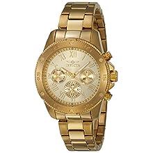 Invicta Women's Wildflower Quartz Watch with Stainless-Steel Strap, Gold, 18 (Model: 21731)