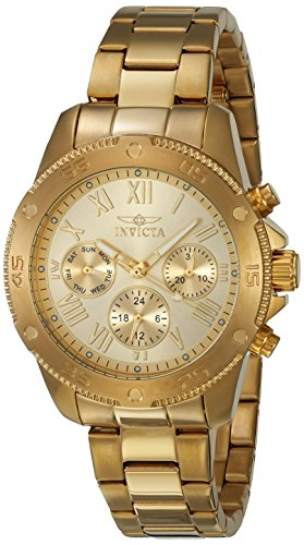 Invicta Women's Wildflower Quartz Watch with Stainless-Steel Strap, Gold, 18 (Model: 21731)