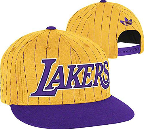 adidas NBA Los Angeles Lakers Gold-Purple Pinstripe Snapback Adjustable Hat (Gold, One Size)