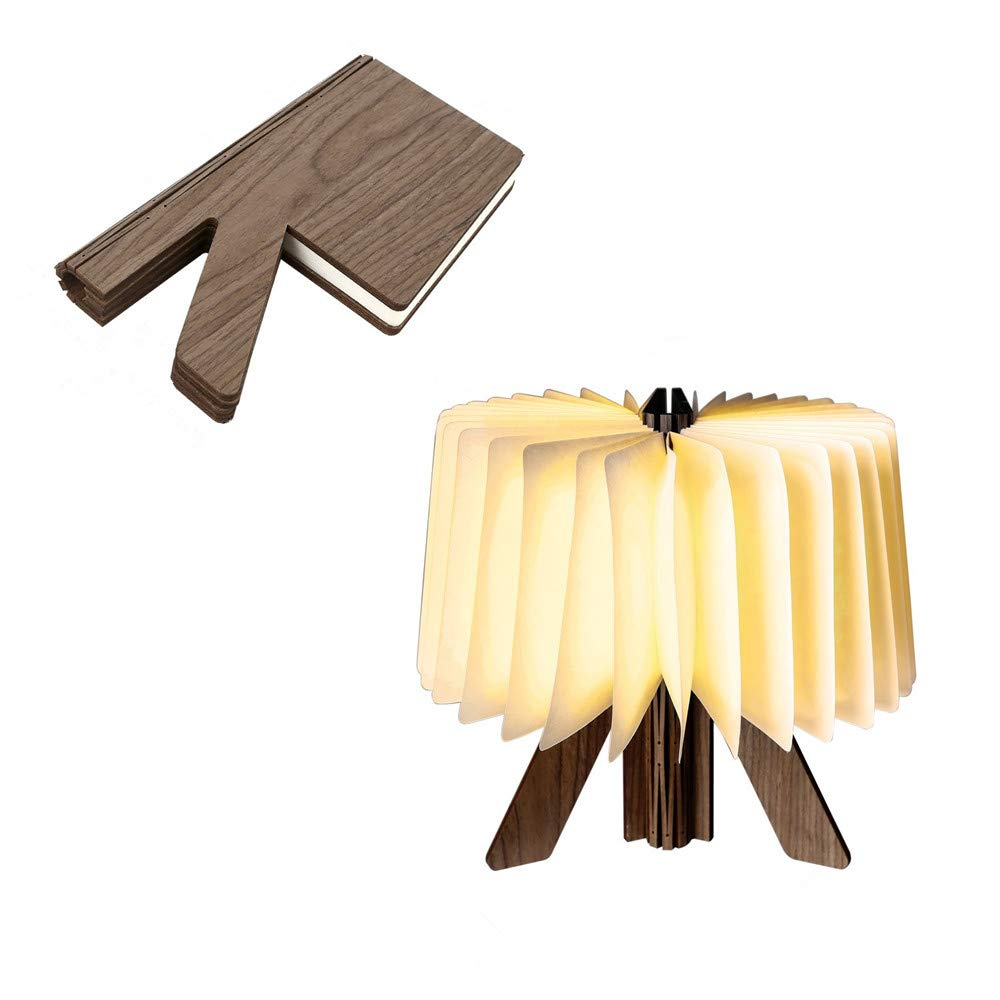 Novelty LED Book Light Portable Desk Lamp. Folding Adjustable R Shaped Paper Night Light Table Lantern for Home Décor Holiday Gift, USB Rechargeable Wooden