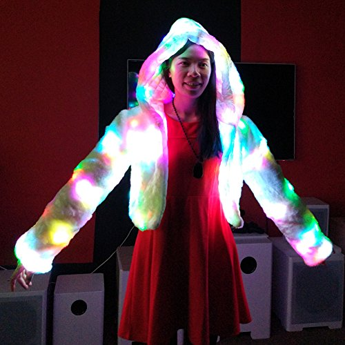Navidad Light Vest Abrigo Abrigo Dance Faux Parte Coat Led Up Ohlees® Fur Realizar Chaleco qtwS5f5n