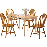 4 Oak Finish Arrow Back Dining Chairs