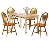 4 Oak Finish Arrow Back Dining Chairs