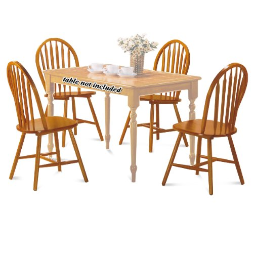 (The Furniture Cove 4 Oak Finish Arrow Back Dining Chairs)