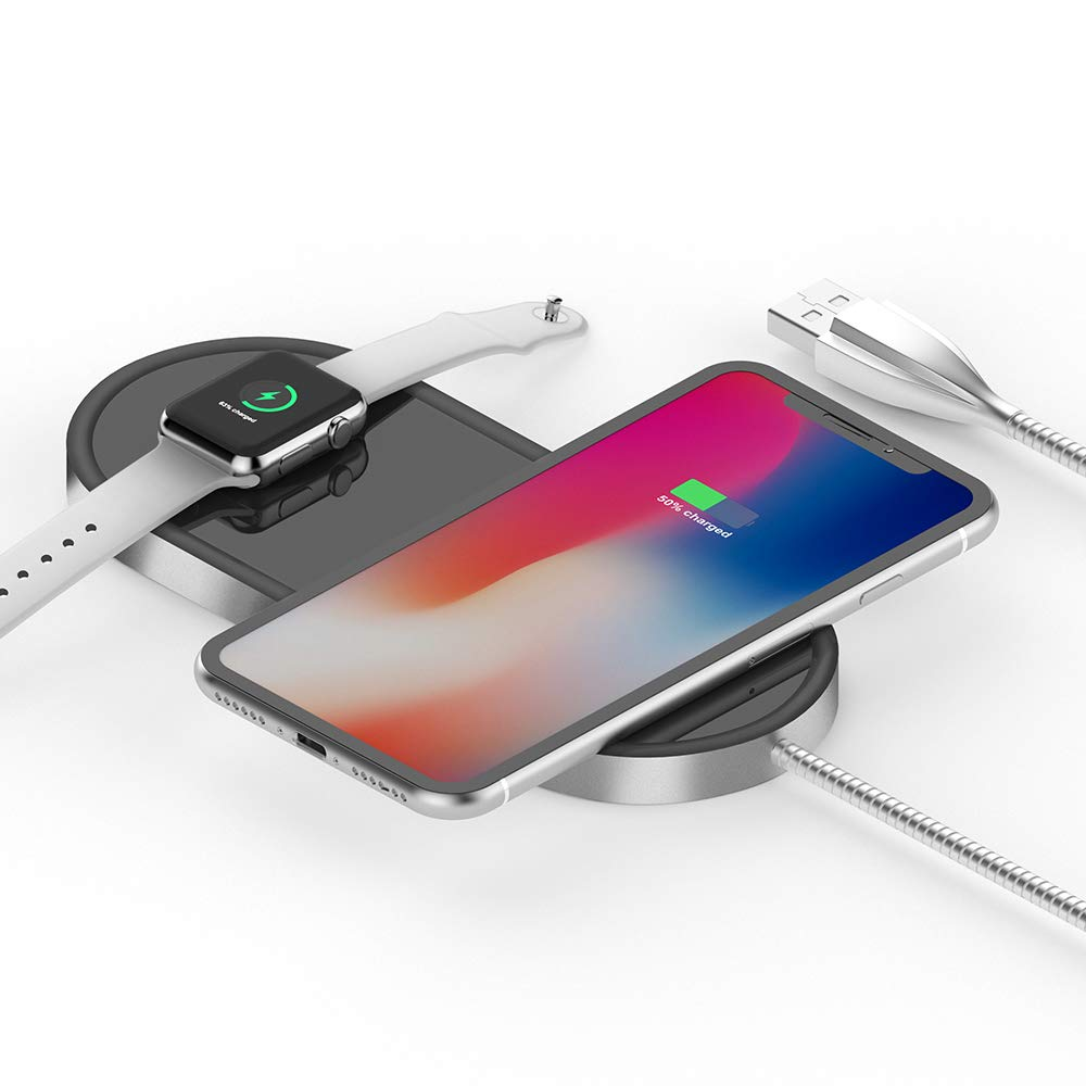 Airpower Wireless Charger, Wordima 2-in-1 Wireless Charging Pad 7.5W/10W Aluminum Safe Charging Dock Compatible with Apple Watch Series 4 3 2 1 iPhone XS/XR/X/8/8Plus Samsung S8 Note 8 by WORDIMA