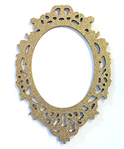 Gold Glitter Picture Frame Wood Cut Out Wooden Art Craft Supplies Wall Hanging Decor Wedding Nursery Mirror Wall Home Oval
