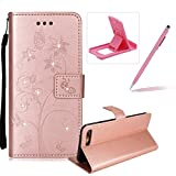 Diamond Wallet Leather Case for iPhone 7,Strap Flip Leather Case for iPhone 8,Herzzer Stylish Elegant Butterfly Flower Ants Pattern Magnetic Stand Cover with Card Cash Slot Soft TPU Inner Case