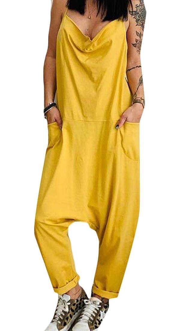 Fubotevic Womens Plus Size Solid Color Cotton Linen Casual Loose Fit Pockets Jumpsuit Romper