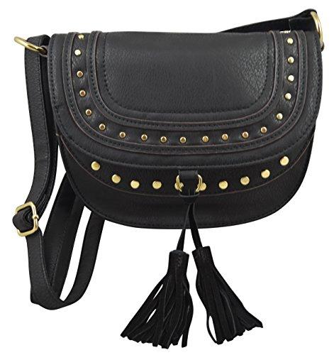 Trendy Tassel Messenger Bag Black - 2