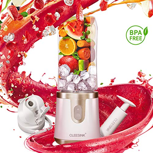 CLEESINK Portable Blender Vacuum for Ice and Frozen Fruit, Personal Blender for Shakes and Smoothies, USB Rechargeable Small Blender included(1 Jar)
