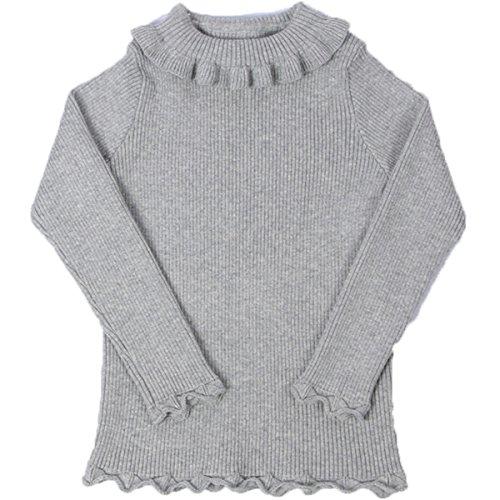 Little Girls Long Sleeve Sweater High neck Ruflle Fine Knit Sweatshirt Pullover 100cm