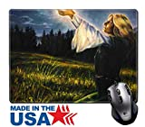 "MSD Natural Rubber Mouse Pad/Mat with Stitched Edges 9.8"" x 7.9"" beautiful painting oil on canvas of a mystical young woman in green emerald medieval IMAGE 35819539 Stain Resistance Kit Kitchen Table"