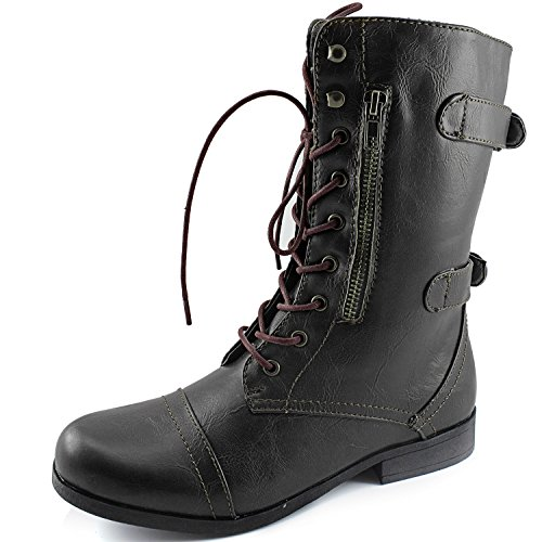 DailyShoes Womens Evan-10 Ankle Zipper Strap Military Combat Boots, 5 B(M) US