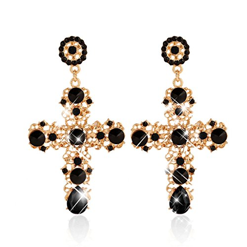 Doober Elegant Cross Boho Women Lady Rhinestone Dangle Drop Rhinestone Ear Stud Earring - Cross Rhinestone Earrings