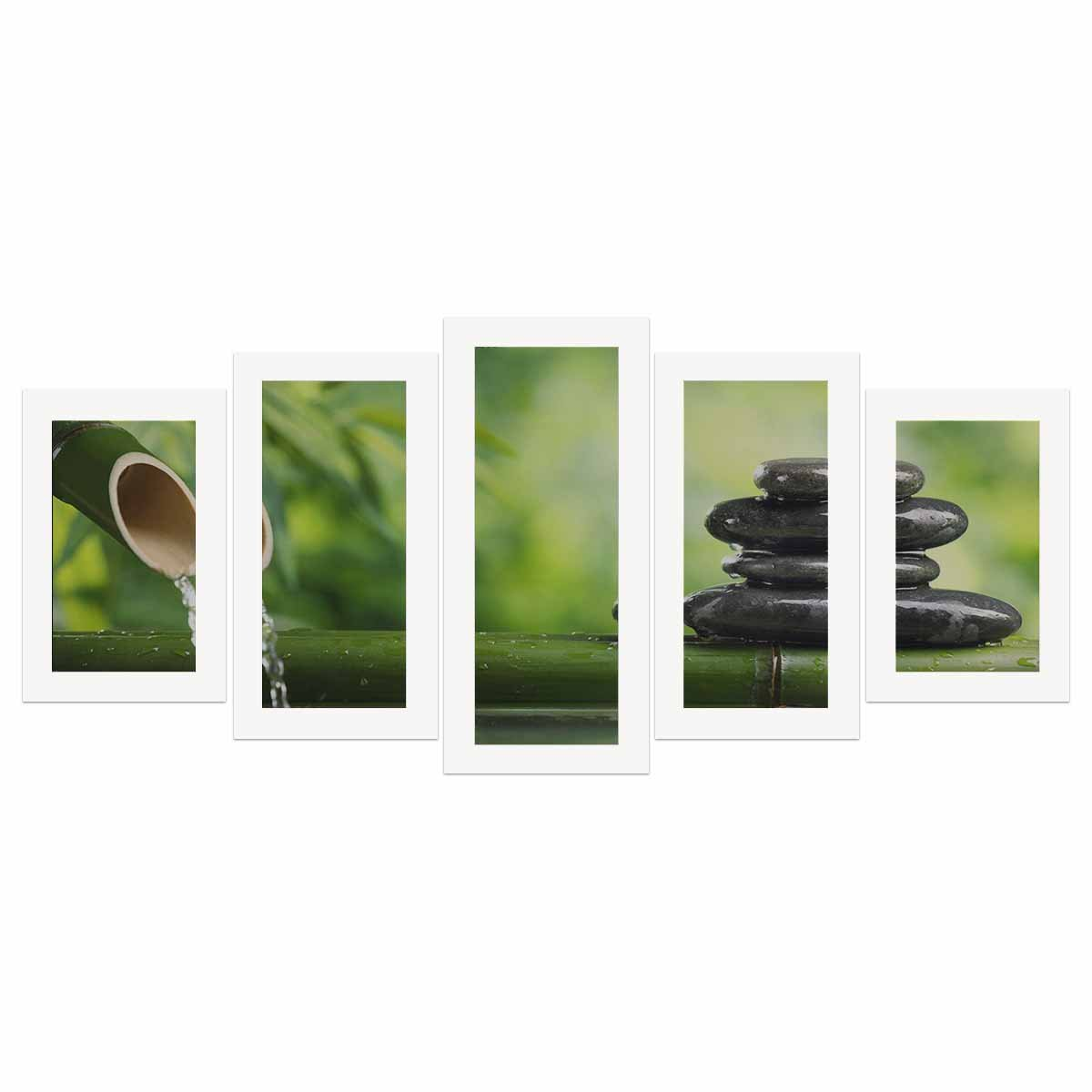 InterestPrint Spa Still Life with Bamboo Fountain and Zen Stone Canvas Wall Art Prints - 5 Piece Oil Paintings on Canvas (No Frame) Set