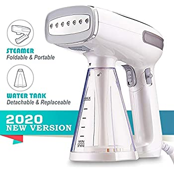 2020 Profesional Travel Garment Steamer, Handheld Foldable Fabric Wrinkle Remover, Portable Steamer for Clothes with 250ml Detachable Water Tank, 25s Fast Heat-up for Cloth, Leak-Proof Design
